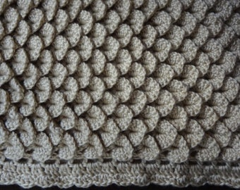 Tan Crocodile or Scale Stitch Baby Or Lap Afghan  Ready to be Shipped