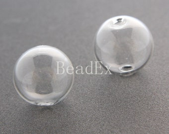 4pcs / Hand Blown / Hollow Glass Beads / Near Round / Clear / 20mm (17H2/G82)