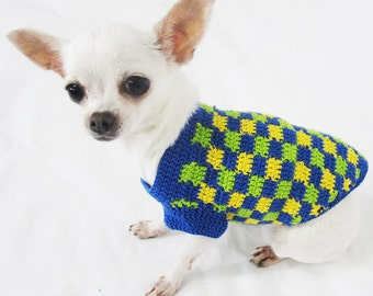 Plaid Dog Clothes Handmade Crochet Unique Pattern Puppy Clothing