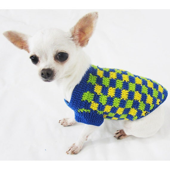 Knitting Pattern For Teacup Dog : Items similar to Plaid Dog Clothes Handmade Crochet Unique ...
