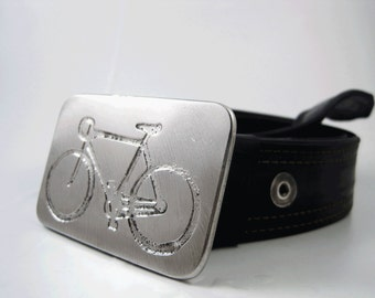 Road Bike Belt Buckle - Etched Stainless Steel - Handmade