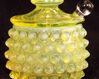 Antique Topaz Opalescent Hobnail Mustard Pot with spreader