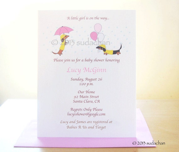 Dachshund Baby Shower Invitations or Birth Announcements - Dachshunds In Raincoats -Choose Your Color (Set of 10)