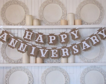 HAPPY ANNIVERSARY Banner, Happy Anniversary Sign, Anniversary Party, 50th Anniversary
