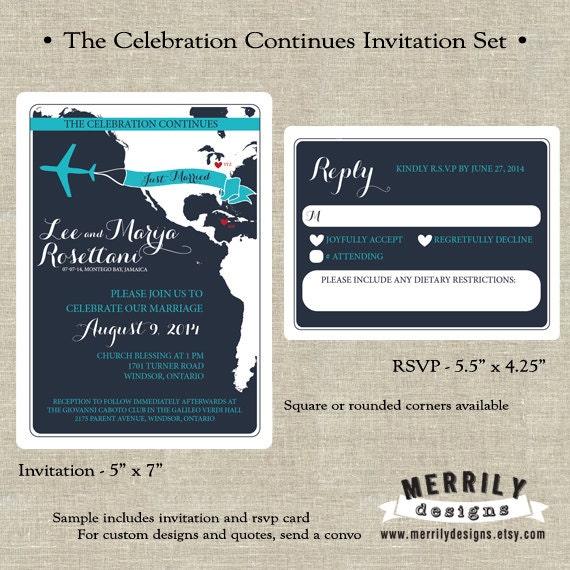 Reception After Destination Wedding Invitation: Reception Invitation For Following A Destination By