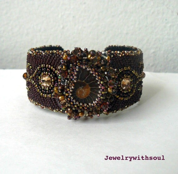 Chocolate bead embroidery cuff bracelet with ammonite shell cabochon in coffee brown, gold and bronze