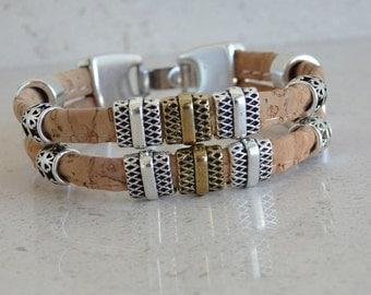 Portuguese cork brown bracelet with zamak clasp - cork bracelet - Portugal - Portuguese cork - (PU70Z15)
