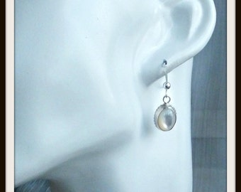 OOAK artisan earrings mother of pearl and sterling silver handmade for woman