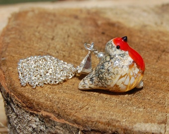 "Lampwork Robin bead  with sterling silver, 18"" sts chain"