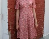 1970s Mauve Patterned Day Dress