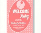 CUSTOM Pink Rattle Modern Girl Baby Shower Invitation