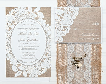 Lace and Burlap Wedding Invitations, Bride on a Budget, Custom Invitation, Sample Set