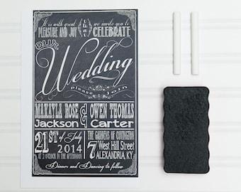 Chalkboard Wedding Invitations, Retro Typography, Black and White Budget Invites