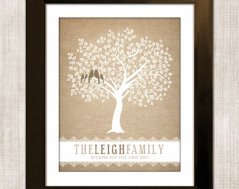 Burlap Family Tree, Wall Art, Personalized Gift For Mom and Dad, Custom Anniversary Gift for Grandparents, Burlap and Lace, Christmas Gift