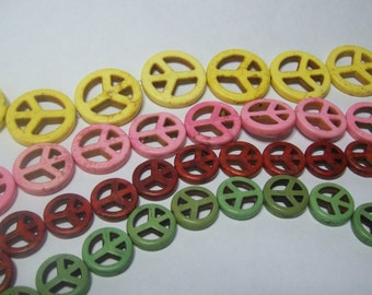 Peace Sign Beads ... your choice of size ... your choice of color