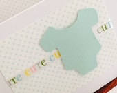 ON SALE - 4 in stock -  CUTE Mint Green Onesie and Polka Dot Thank You Cards