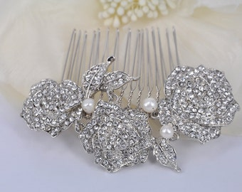 Crystal Rose-Vintage style Rhinestone and Freshwater Pearl Comb
