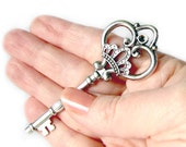 3 Extra Large Ornate Silver Skeleton Key / Antique Silver Heart Crown Skeleton Key Pendants  84x32mm -  13031.J6C