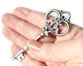 3 Extra Large Ornate Silver Skeleton Key / Antique Silver Heart Crown Skeleton Key Pendants  84x32mm - Lead, Nickel & Cadmium Free 13031.J6C