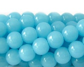 Beads : 50 Turquoise Blue Round Glass Beads ... 6mm Diameter | 11-inch Full Strand 6mm Turquoise Opaque Glass Beads         53737