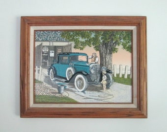 Vintage Framed Hargrove Serigraph Antique Car Old Man Little Boy 1980s 12 x 16 Canvas / 17 x 21 Wooden  Fram