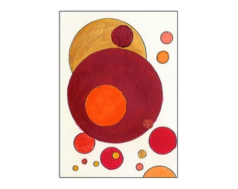 Red, Orange, Yellow with Metallic Gold and Copper Circles + Dots - Original Tori Amos Inspired Mixed Media (Acrylics & Watercolor) ACEO
