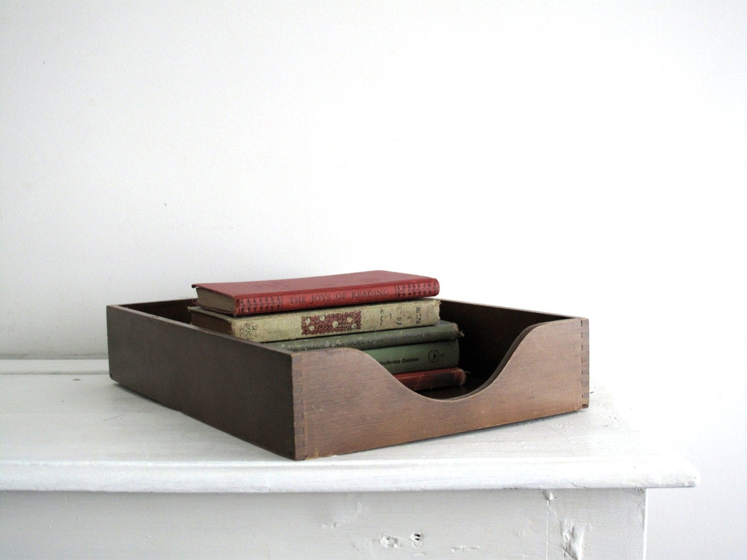 Vintage wood file tray desk organizer wooden by - Wood desk organizer ...