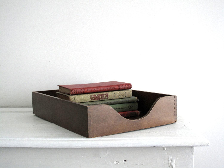 Vintage wood file tray desk organizer wooden by - Wood desk organizer ...