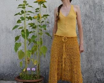 Crochet harem pants in mustard, yellow