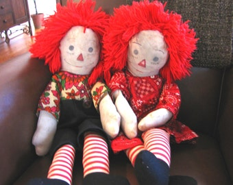 """Large 30"""" Cute Vintage Handmade Raggedy Ann and Andy Dolls"""