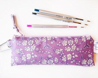 Mini Pencil Case / Makeup Bag - Liberty of London Oilcloth (Vinyl-Coated) Print -  Capel (Purple)