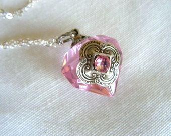Pink Diamond Essential Oil / Perfume Bottle Necklace