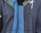Blue Striped Knitted Unisex Scarf, Handmade Skinny Scarf, knitted Winter Scarf