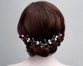 Swarovski Pearl Bridal Hair Vine, Bridal Hair Pins, Bridal Headband, Bridal Hairpin, Silver Wedding Hair Vine, Bridal Hairpiece, Bridal Halo