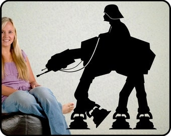 "Star Wars AT-AT Walker wall decal - Darth Vader Wall decal on At-At Walker vinyl decal, 23"" x 22"""