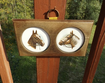 Sale Horses on round ceramic in wooden frame.Wooden Plaque ,vintage ,horses, home decor.Wall hanging.Gift