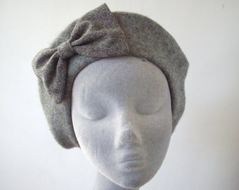 Grey Hat- Grey Beret Hat with Grey Glitter Bow
