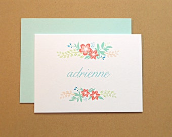 Personalized Stationery Set / Personal Stationery / Thank You Cards, Vintage Wildflowers, 25-Count