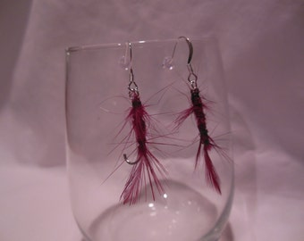 Red Feather Fly Tied Pair of Earrings, earrings, red, feather, fly tied, dangle
