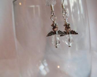 Copper Angel Earrings on SS Earwires