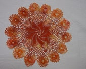 "Vintage Doily, Irish Hand Crochet, Hand Dyed Textile Art 11"", Shades of Orange"