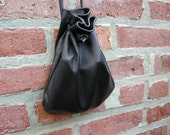 Leather Bag - Pouch Bag - Pouch - Sack Bag - Black Bag - Black Leather - Shirlbcreationstoo