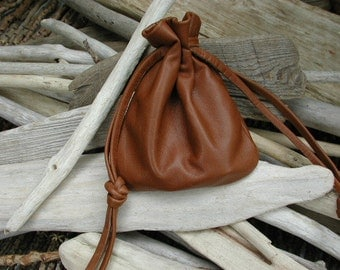 Medium Size - Leather Drawstring Pouch Bag -  Crystals Stones - Good luck charms Pouch - Talisman Native American Made in the USAs