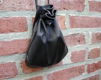 Leather Bag - Pouch Bag - Pouch - Sack Bag - Black Bag - Black Leather - Shirlbcreationstoo