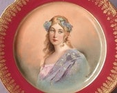 Antique 1890's LS & S Limoges France portrait plate, Victorian woman plate, red and gold French porcelain plate, shabby chic decor art plate