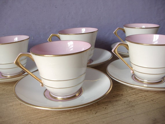 Antique 1930's Paragon pink tea cups set of 5, art deco tea cups, English tea set, Demitasse tea cup set, pink and white china tea cups