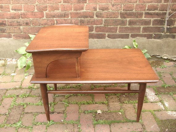 Vintage 1960's 2 tier end table, Danish modern furniture, Mid Century Modern end table, living room furniture, Danish end table, Pittsburgh.