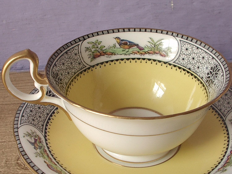 antique aynsley tea cup and saucer set bird tea by shoponsherman. Black Bedroom Furniture Sets. Home Design Ideas