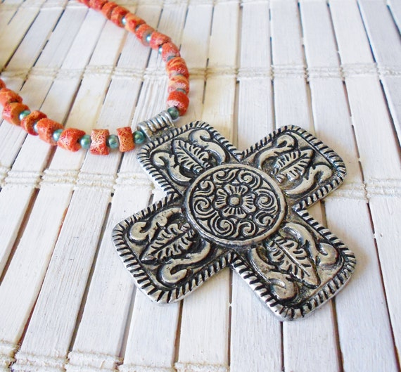 Southwestern Cross Necklace with Coral Beads