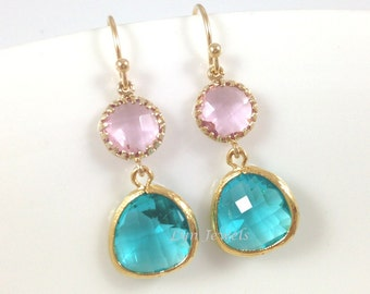 Turquoise and Pink Earrings - Gold Blue Zircon and Soft Pink Colorblock Earrings - Christmas Wedding Bridesmaids Gift Under 25